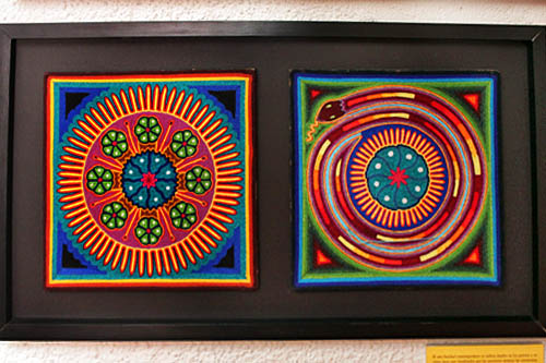 Huichol paintings, created by pressing hand-loomed wool yarn into a base of wax, displayed atanotherof the intriguing museums of Zacatecas, the Museum of Huichol Indian Art and Culture