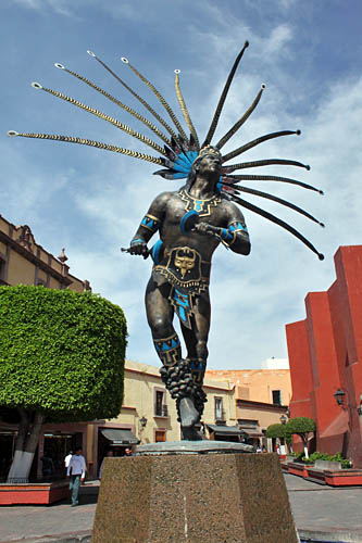 One of dozens of outdoor sculptures scattered around the historic center of Queretaro