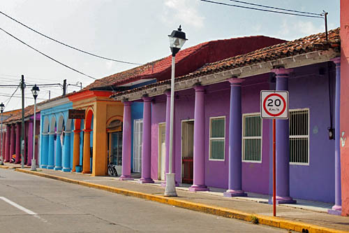 Tlacotalpan is known for the multi-colored columns and pillars that adorn nearly every house in town