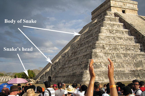 Corner of Kukulcan pyramid at Chichen Itza casts shadow of a serpent's body on north stairway during sunrise and sunset on spring and fall equinox. Photo courtesy of Wikipedia.