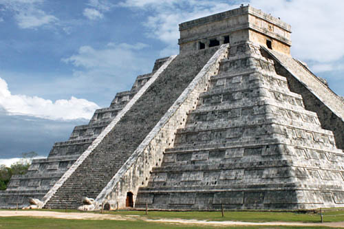 North stairway at Chichen Itza on a normal day, with serpent heads at base