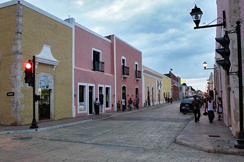Pastel houses line cobblestone streets in Valladolid