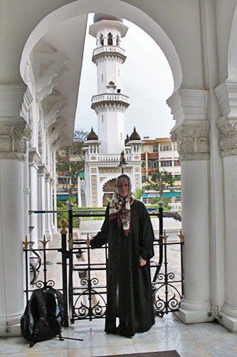 Dressed in a traditional head scarf and abaya on a tour of the Kapital Keling Mosque in George Town. Thank goodness it was during the cooler monsoon season, the best time to visit Malaysia