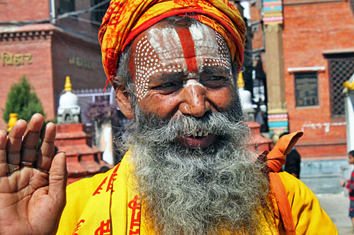 Sadhu (Hindu holy man) posing for a photo at a temple in the Chhetrapati district is all smiles, until he demands money for your photo. Yet another of the common scams in Kathmandu.