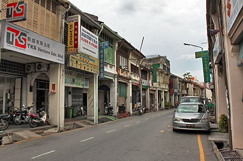 multi-level sidewalks in George Town on Penang Malaysia