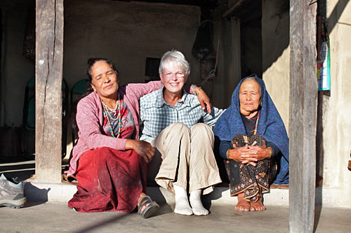 Didi (older sister), me and Aama on the front porch during my home stay in Nepal
