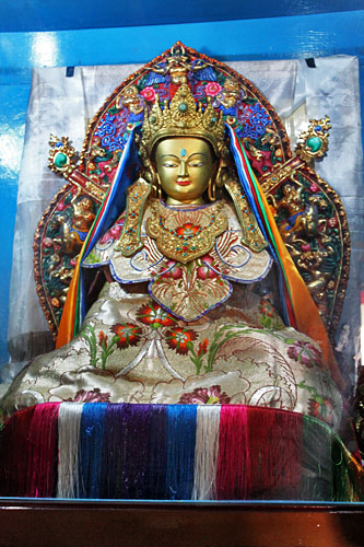 Ancient Buddha statue carried out of Tibet during the war with China in 1959 now graces the altar at Shree Gaden Dhargay Ling Monastery