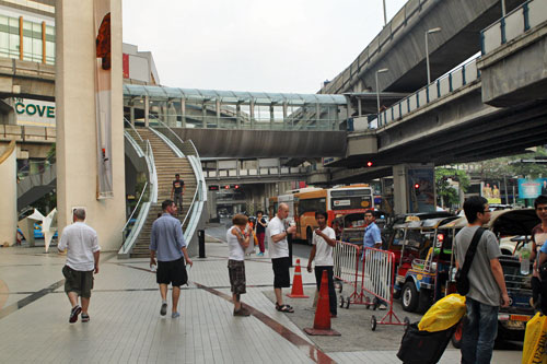 Bangkok's Sky Train bridge and walkways provide access to all the retail centers around Siam Square