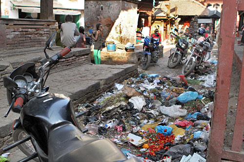 Pile of trash in the back streets around Durbar Square, Kathmandu, Nepal