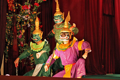 Ornate costumes and masks worn in the Lao version of the Ramayana