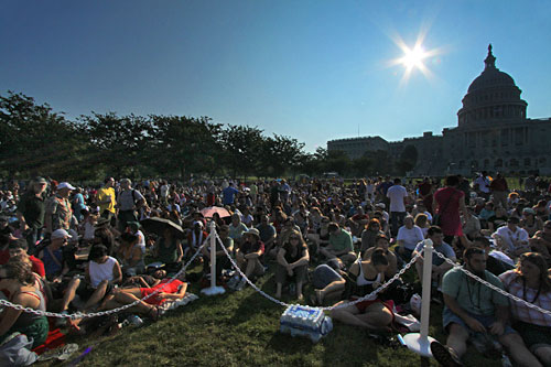 By the time the sun rises, huge crowds have already gathered on the Capitol west lawn to hear the Dalai Lama speak