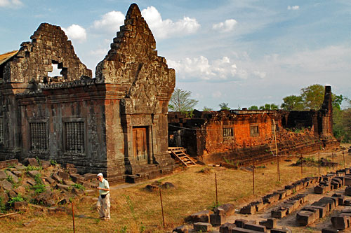 One of the Vat Phou palaces on the valley floor curently being restored