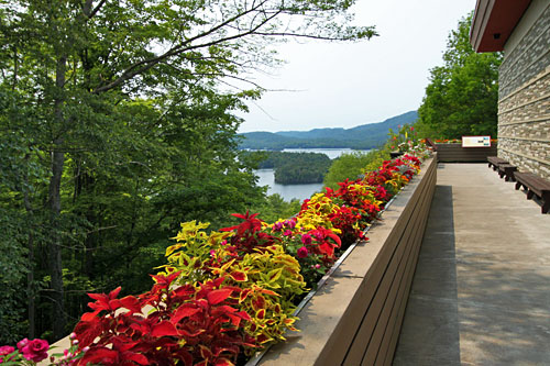 View deck at Adirondack Museum overlooks Blue Mountain Lake
