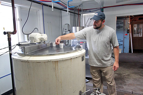 Vats at Maple Hill Creamery where cultures are added to heated milk