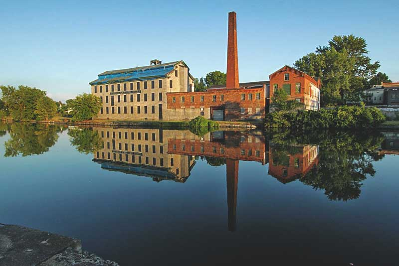 Old Mills on the Banks of the Cayuga-Seneca Canal, Part of the Erie Canal System, in Seneca Falls, New York