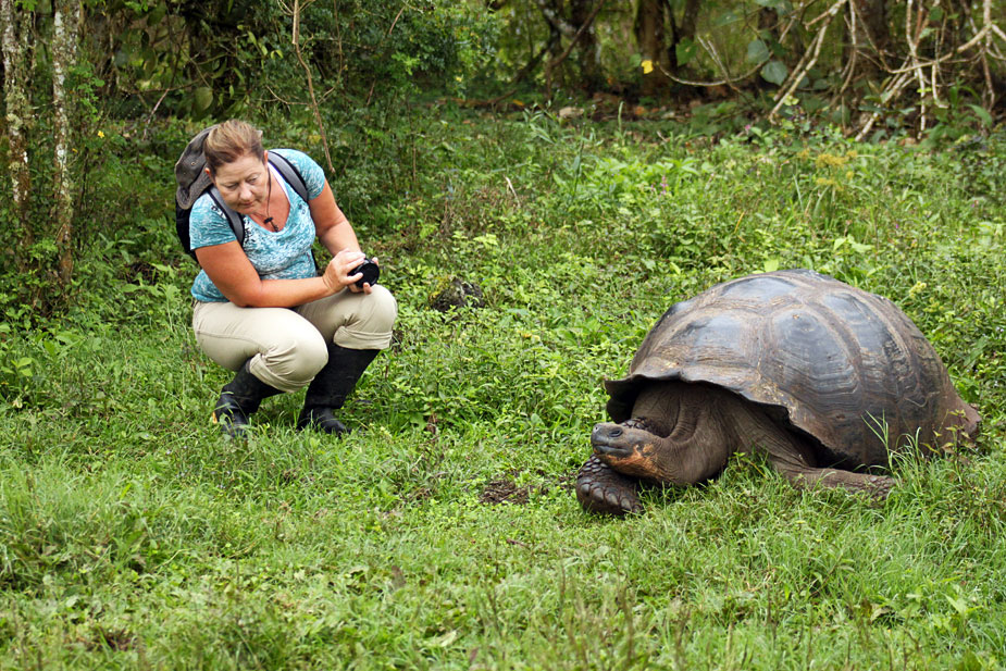 My Sister, Nancy, and a Giant Tortoise, Check Each Other Out in the Galapagos Islands of Ecuador