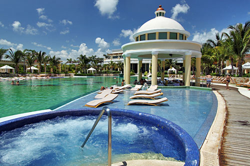 Pool and swim-up bar at Iberostar Grand Hotel Paraiso on the Mexican Riviera Maya