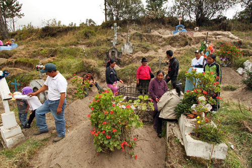 Families gather at the cemetery in Chugchilan to clean graves and honor the deceased