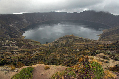 Lake-filled Quilotoa Caldera is nearly 13,000 feet high