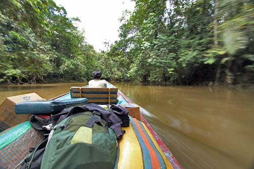 Motoring down the Cuyabeno River in Ecuador's Amazon jungle