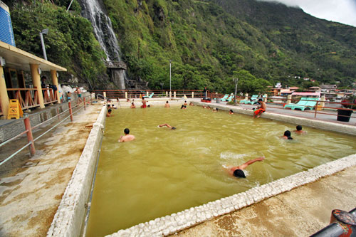 Largest pool at the thermal baths has medium-hot water from the volcano