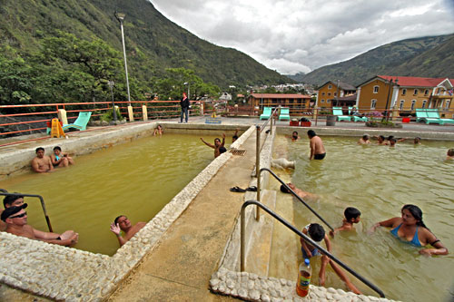 Termas de la Virgen is the thermal baths most popular with the locals, but they welcome visitors with friendly waves. The pool on the right is medium hot, while the one on the left is hot hot.