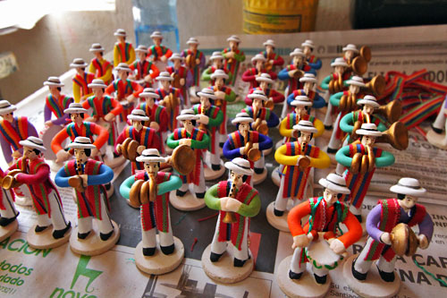Miniature ceramic folkloric figurines from Chordeleg, Ecuador