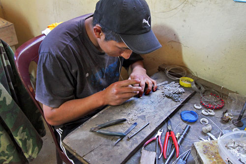 Making silver filigree jewelry in Chordeleg, Ecuador