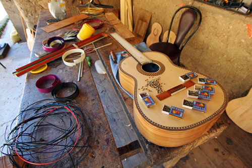 Custom inlaid guitars, handmade by Jose Uyaguari in San Bartolome, one of the artisan villages near Cuenca, Ecuador