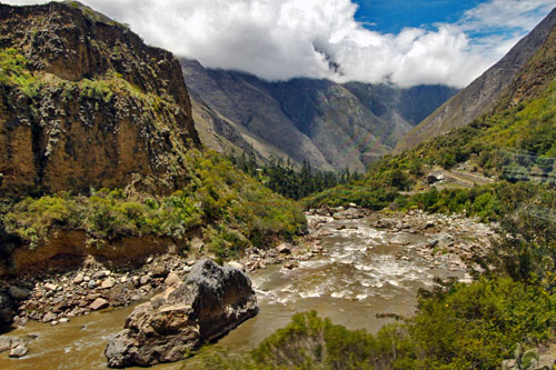 Gorgeous scenery in the Sacred Valley on the train to Machu Picchu, Peru