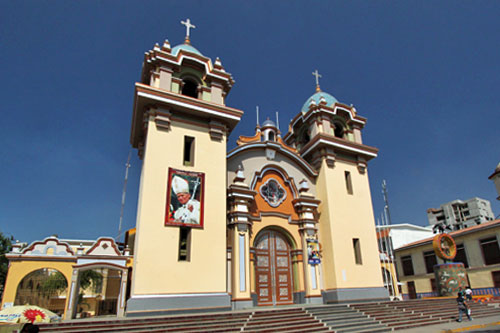 Church on the central plaza in Tumbes, Peru