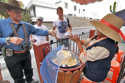 Sampling queso helado (cheese ice cream) at the Mirador de Yanahuara, a neighborhood not far from the center of Arequipa
