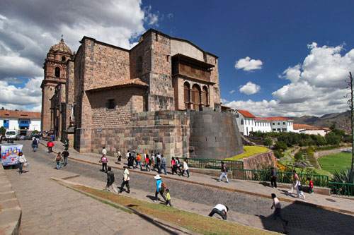 Semi-circular wall that was part of the original Inca Sun Temple was built over by the Spaniards when they constructed Santo Domingo Church. It was and uncovered by the 1950 earthquake.