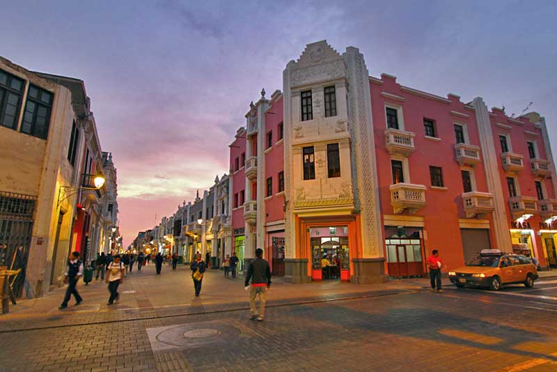 Rich Colors of Colonial Architecture in Trujillo, Peru Glow in Sunset
