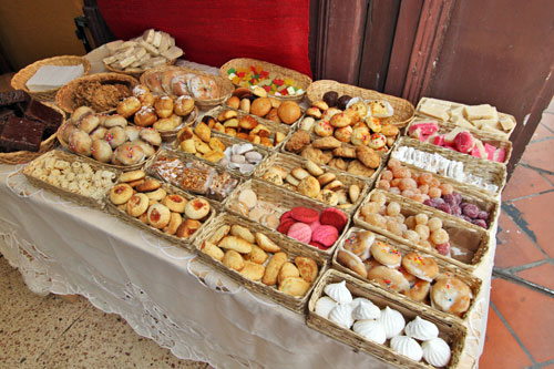 Traditional pastries at a shop in Cuenca, Ecuador