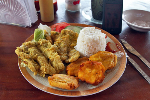 Fresh fish on the coast of Ecuador, served with rice and fried ripe plantains
