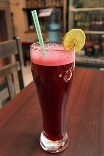 My favorite drink in Ecuador and Peru, Chicha Morada, made from purple corn
