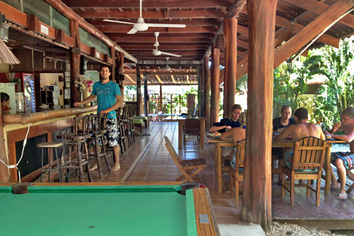 Bar and restaurant at Funky Monkey Lodge in Santa Teresa