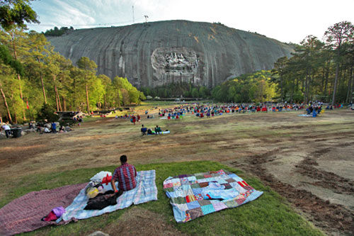 Though from a distance it seems small, the Confederate Memorial Carving on the face of Stone Mountain is largest high-relief sculpture in the world