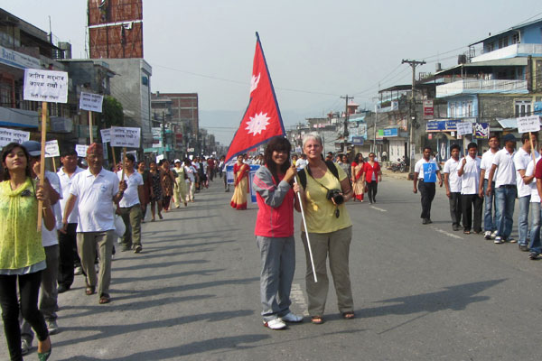 Barbara Weibel, marching in support of a United Nepal, May 24, 2012