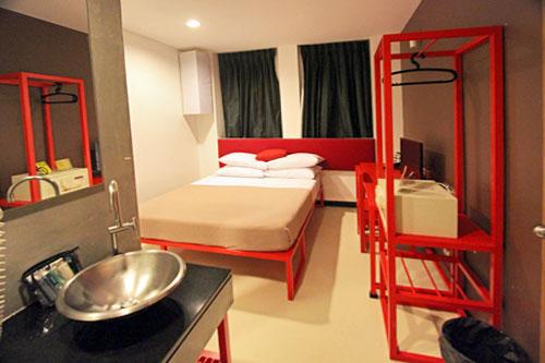 My spotless double room at Lub-d Silom in Bangkok