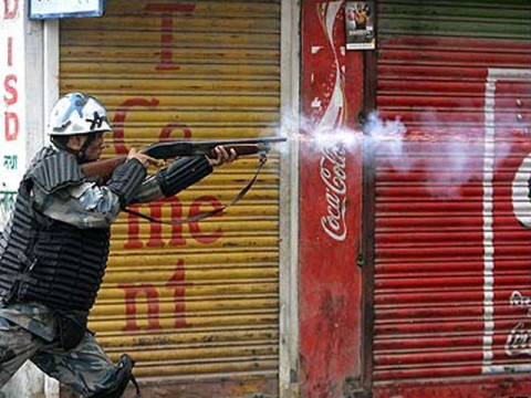 "Police react to demonstrations in Kathmandu. Photo courtesy of ""The Nation"" Newspaper."