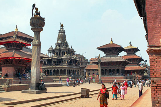 Patan, located just south of Kathmandu, is home to one of three Durbar Squares from ruling kingdoms in medieval Kathmandu
