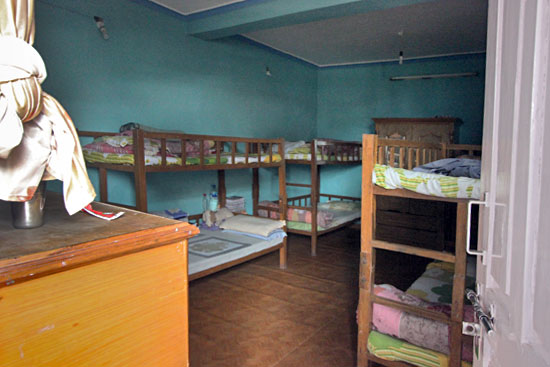 Dark, windowless bedroom for orphans