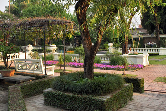 Formal arrangements of trees, shrubs and flowers in the Garden of Dreams, Kathmandu