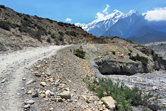 Sere landscape on the Marpha to Jomsom trek, the driest area in all of Nepal