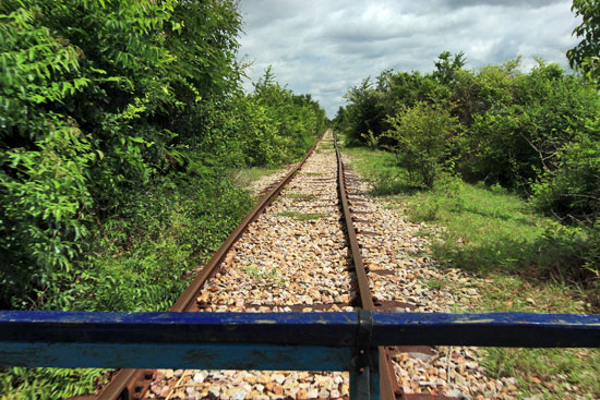 Crazy warped tracks on Bamboo Train line near Battambang, Cambodia