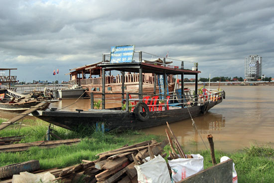 Boat for sunset cruise on Tonle Sap River, Phnom Penh Cambodia