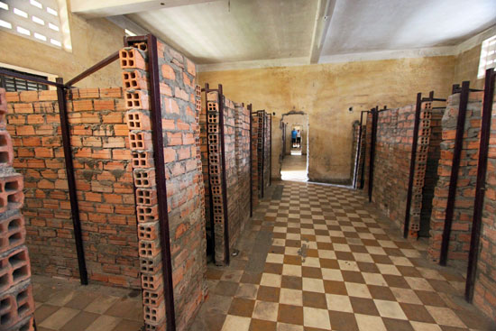 Brick walls carved classrooms at S-21 into tiny cells