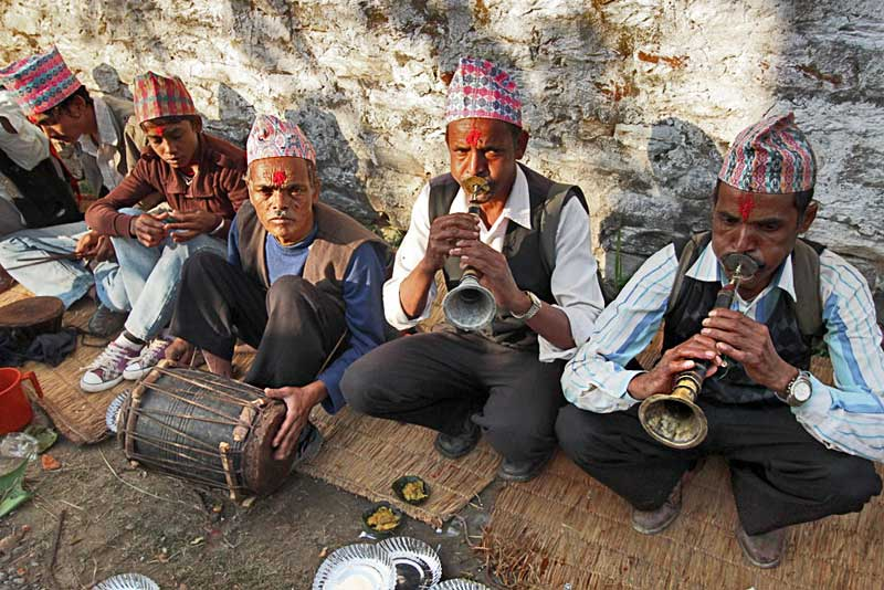 Typical Group of Musicians Known as a Panchai Baja, Perform at a Wedding in Leknath, Nepal